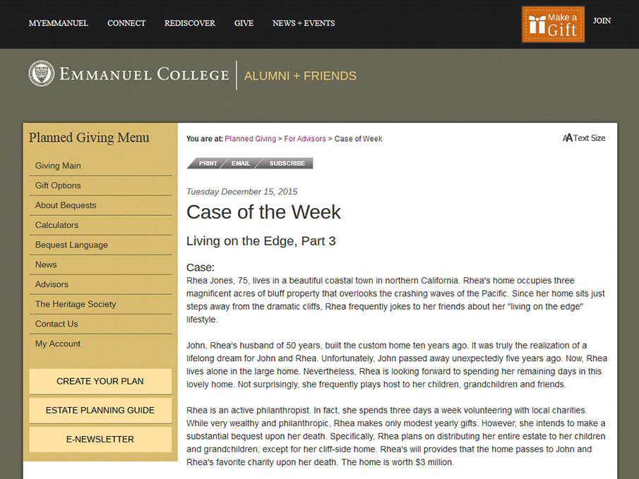 Emmanuel College (Case of the Week)